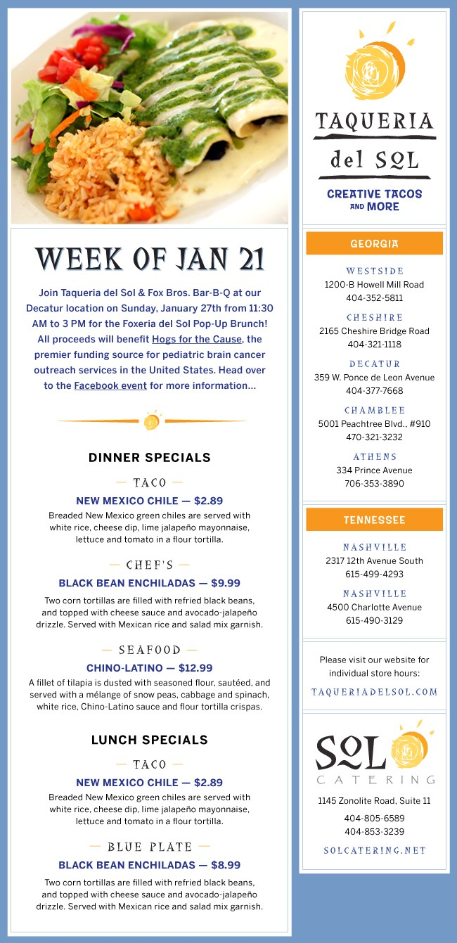 Taqueria Del Sol Menu Week of Jan 21